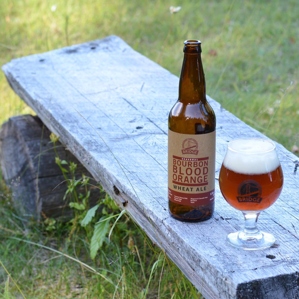 Bourbon blood orange wheat ale by @bridgebrewcrew. Landing in private liquor stores in #YYJ this week. #craftbeer http://t.co/9IAAnIuDIR