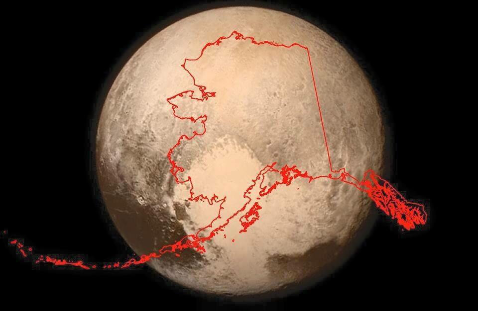 The size of #Pluto compared with Alaska. #SpaceFact #FunFact http://t.co/l3w97NqeeI