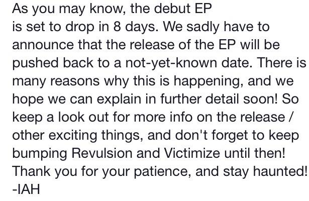 Regarding the EP release delay http://t.co/SFADDFlwKl