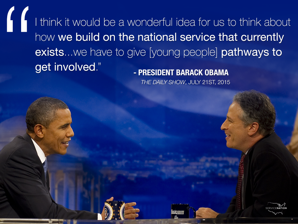 Woah! Did you catch @POTUS talking about #NationalService on @TheDailyShow tonight? Check it out: http://t.co/Z6xfrHMvmv