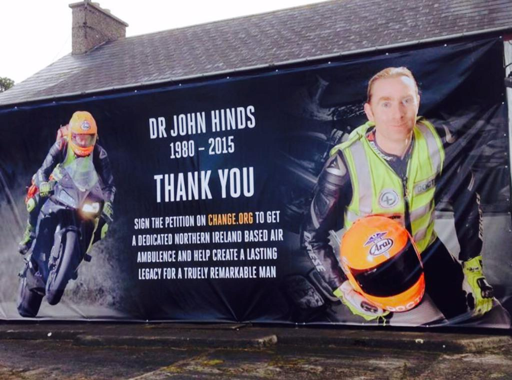 The @ArmoyRoadRaces honouring @DocJohnHinds and showing their support for the petition.  @Change #HEMS4NI #one4hinds http://t.co/BTS0RWLjh8