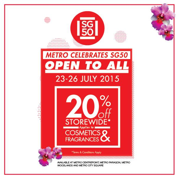 In conjunction with SG50,Metro is offering 20%OFF storewide* from 23-26 Jul.Check in-store for more details!*T&Capply http://t.co/fqyTeHS1z8