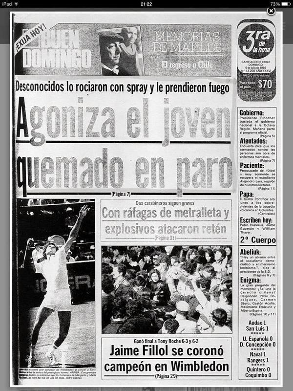 Así informó el diario La Tercera la muerte de Rodrigo Rojas De Negri en 1986. (foto vía @jaranedab #CasoQuemados http://t.co/PdaIjEveue