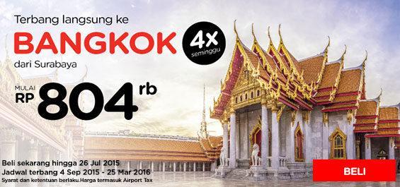 Terbang ke Bangkok 4x seminggu dari Surabaya, mulai dari 804ribu!  Pesan sekarang di