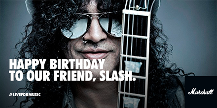 An icon of guitar and style. Happy birthday to our top hat wearing friend, Slash