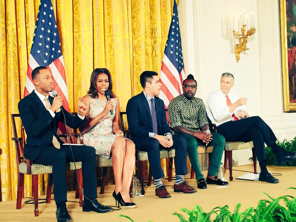 """The doubters will be there no matter how hard you work or high you rise. Don't listen to them"" @FLOTUS #ReachHigher http://t.co/HRVP8HGx58"