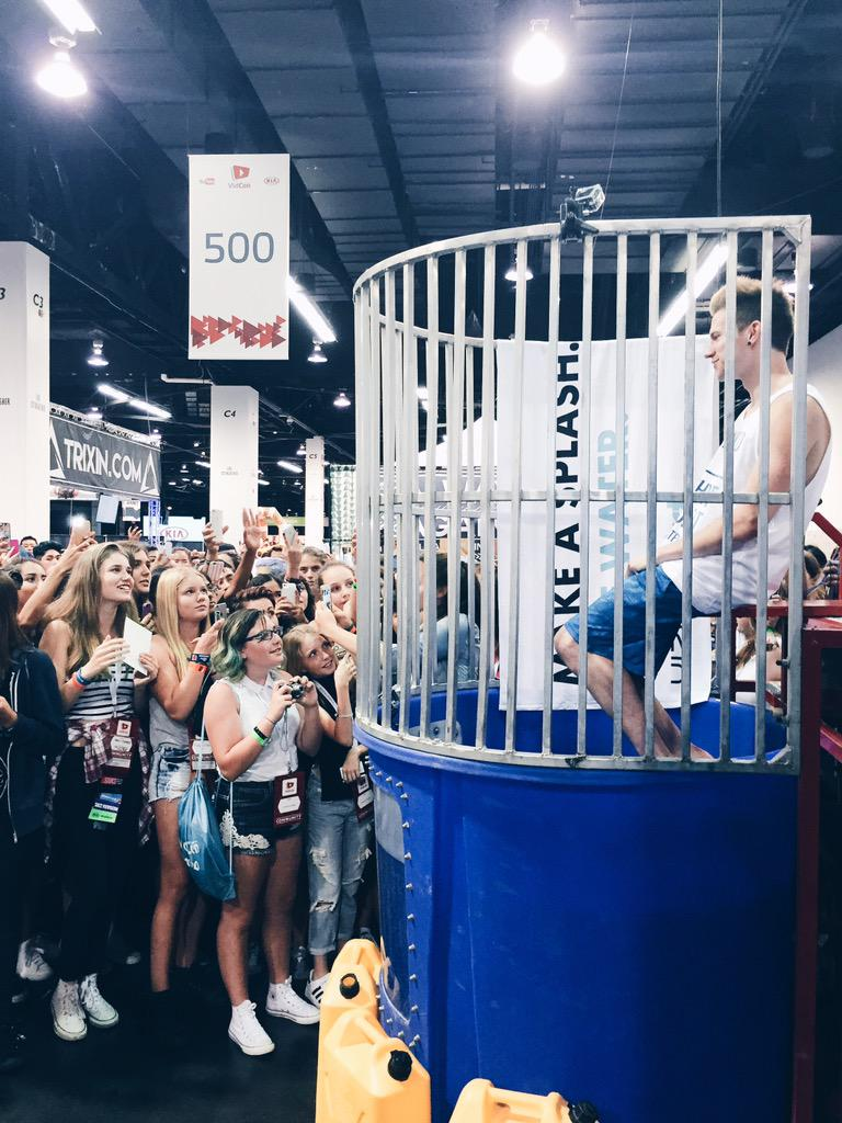 You all dunked @RickyPDillon for clean water and it was amazing! #thirstproject #vidcon http://t.co/dQgzIChfwh
