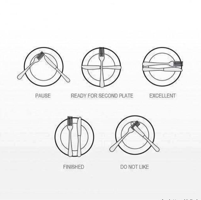 Communicate with servers in a restaurant without saying a word - positions for your utensils that'll speak for you! http://t.co/Y8HWU5UE8a
