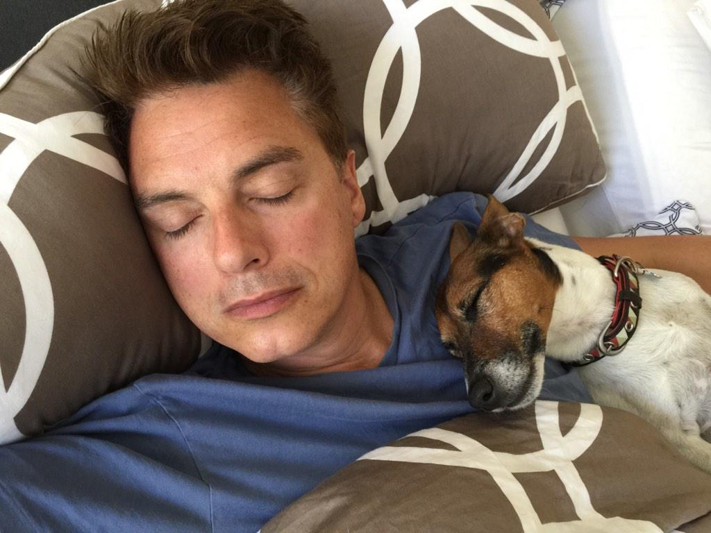 My boys @Team_Barrowman and Jack having a cuddle and a nice long lie-in... http://t.co/BsY2PX4WGs