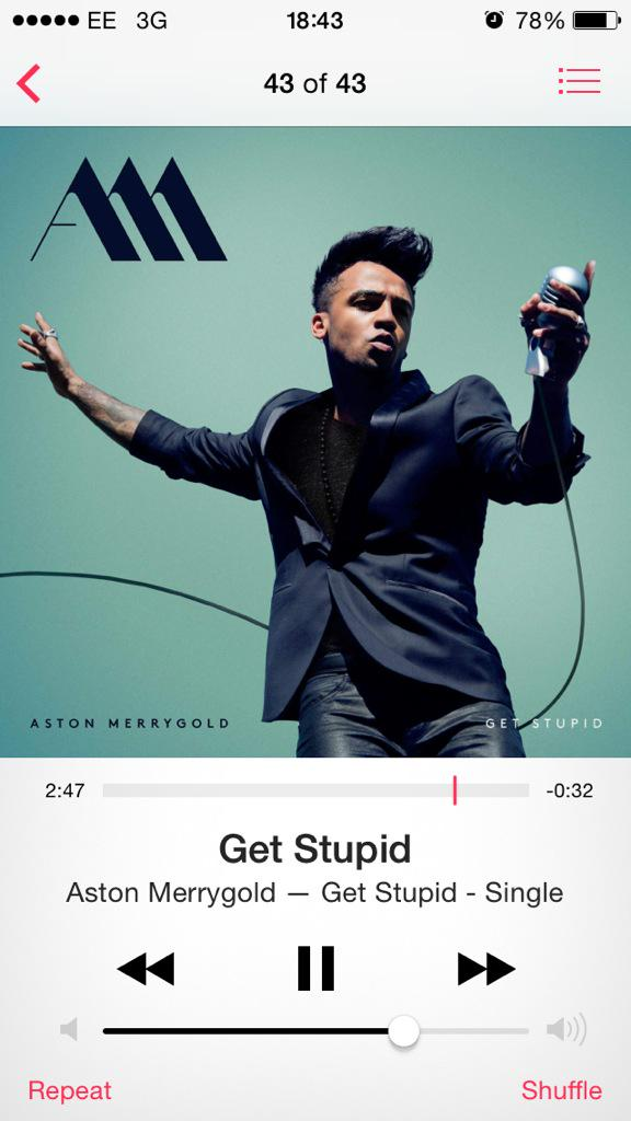 #nowplaying #GetStupid @AstonMerrygold http://t.co/PQ3WWtX1Ng