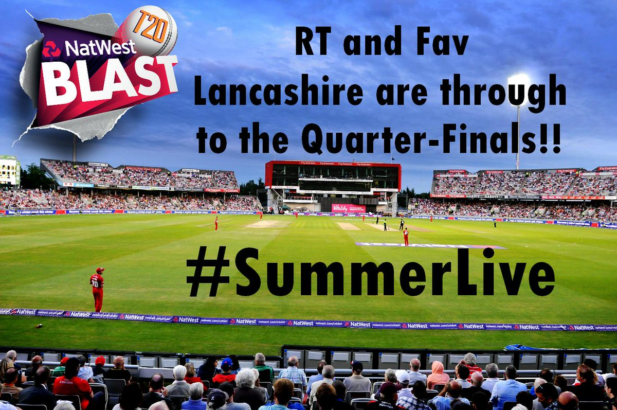 The game at Leicester has been abandoned which means @LancsCCC have made it through to the @NatWestT20Blast QF's!!! http://t.co/S6zaXX6BOm