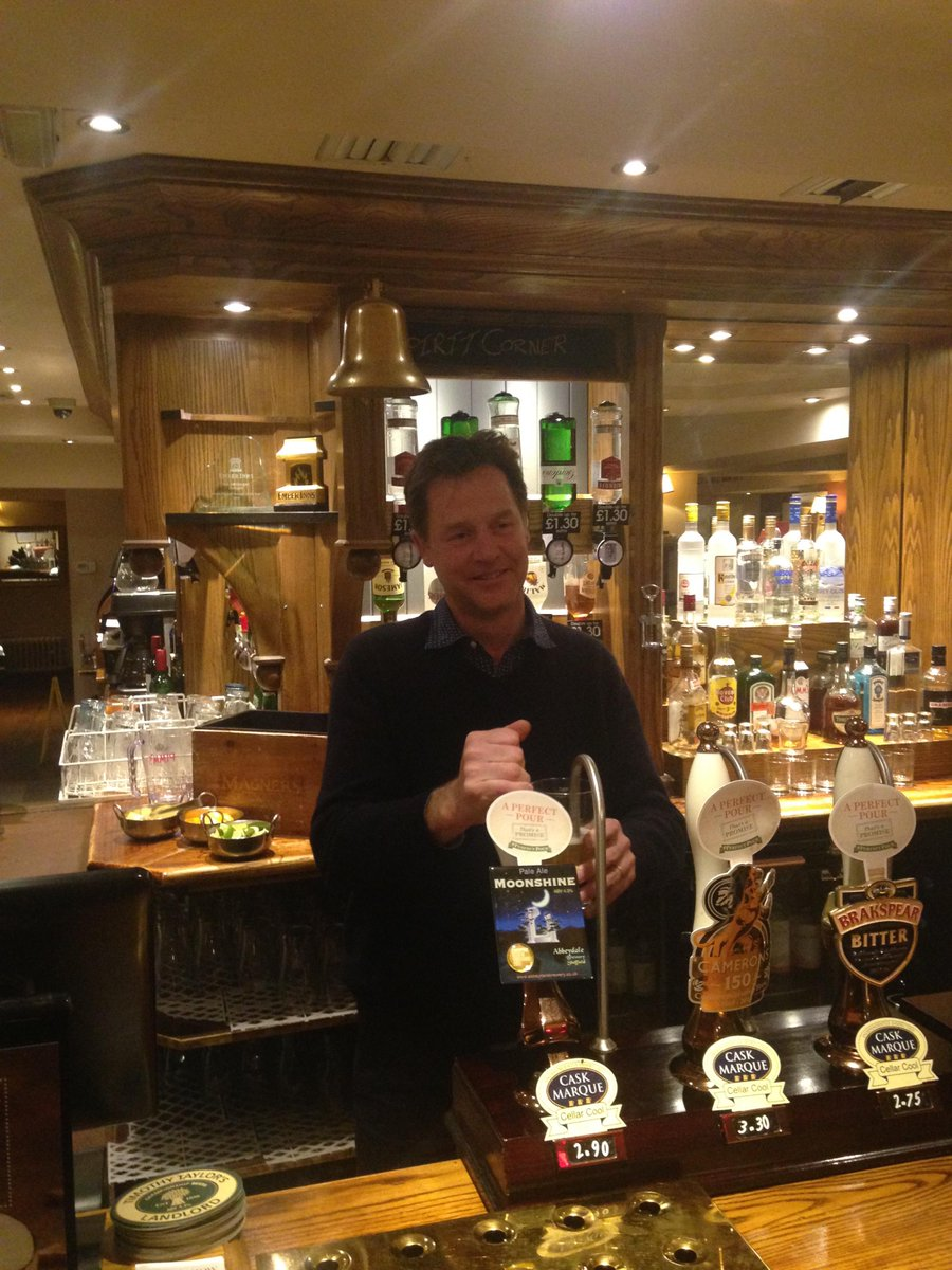 Who wants a picture of Nick Clegg pulling a pint? Course you do… http://t.co/si19yfxsmu