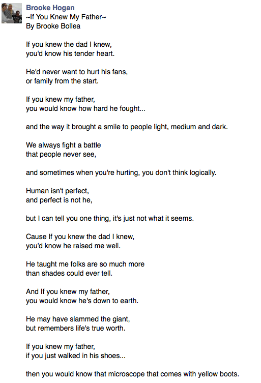 Brooke Hogan wrote a Facebook poem in response. I…uh…what. http://t.co/qHrm7Pxnz5
