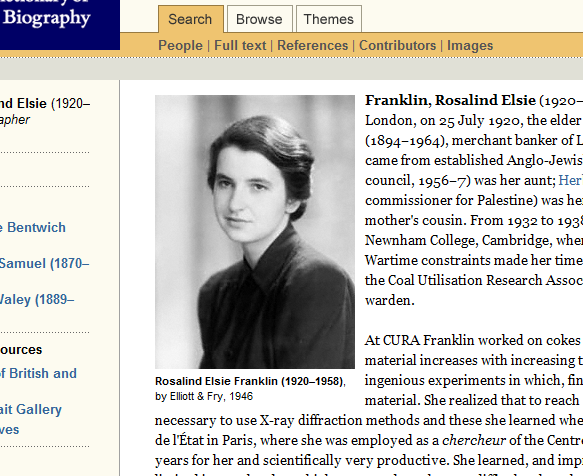Rosalind Franklin, crystallographer, was born #onthisday in 1920 http://t.co/reKSdjIxy1 #womeninscience http://t.co/5Oye94BhG7