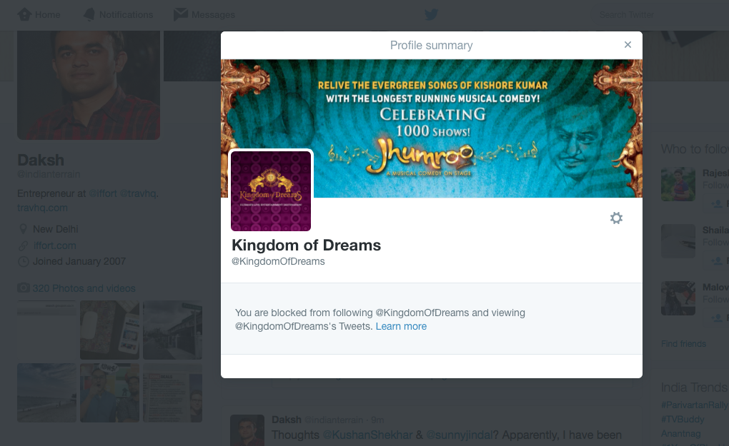 Seeking opinion: @KingdomOfDreams hasn't paid @iffort its due funds for 2+ years now. Moreover, I have been blocked. http://t.co/FAMR3LyfpI