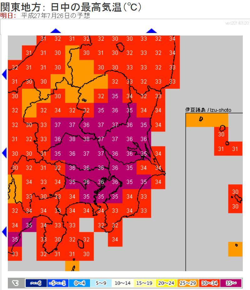 明日の関東は、夏空で、今年これまでで一番の暑さに。昼は今日より高い35~37℃前後。埼玉北部や群馬など内陸は38℃以上の所も。暑さから身を守ることをまず考えて行動を。午後は山沿いで、夕立の可能性あり。 http://t.co/urTHzUradX