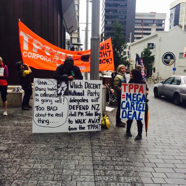 Excellent TPPA protest action at Sky City this morning. Thanks you guys! #TPPAnoway http://t.co/JMnBpv0amr