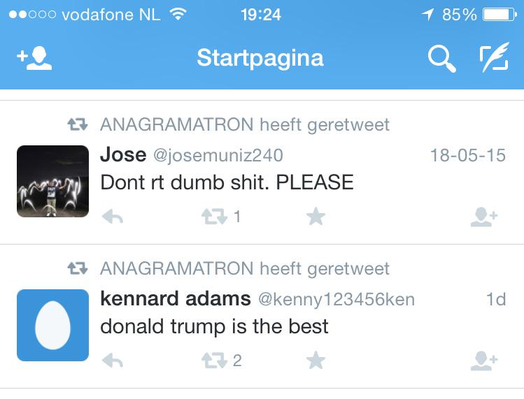 Dat @anagramatron-account is sowieso top. Maar dat deze 2 tweets anagrammen van elkaar zijn, oh my, I love taal. http://t.co/ZBxKPmUBre