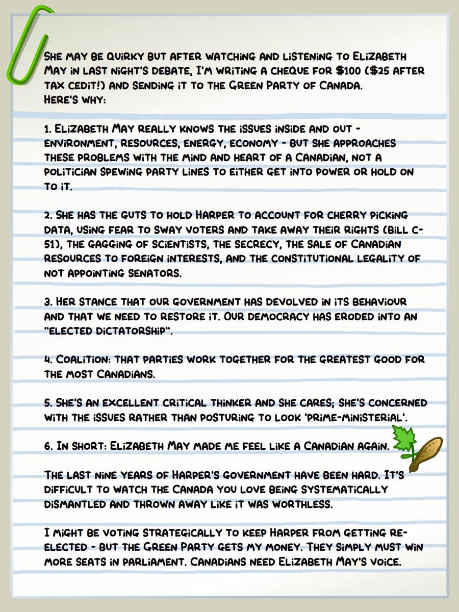 Because I'm CANADIAN. #macdebate #elxn42 #cdnpoli @CanadianGreens http://t.co/jd1n2RNrs2
