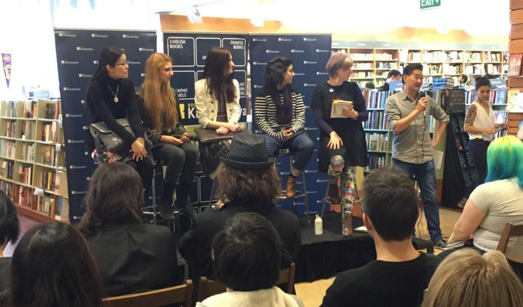 Happening now at @KinokuniyaAust Sydney. @queeniechanhere @meriamber Sarah Boxall @StripedDesigns and Alex Hammond. http://t.co/W91TFNK51P