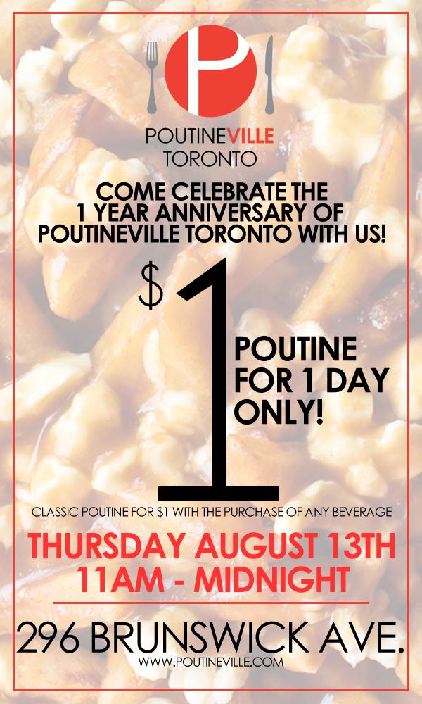 Hey #Toronto! Come celebrate with us with $1 poutine! Thursday August 13th ALL DAY! #poutineville http://t.co/aYcckUnNFN
