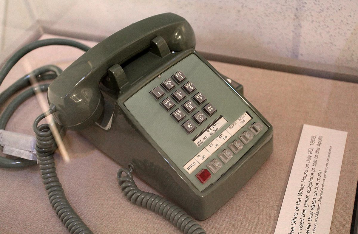The Nixon Library has the phone used to call Neil and Buzz on the Moon. It's like an iPhone, but important. #NixonDay http://t.co/TWj2ZHn3eN
