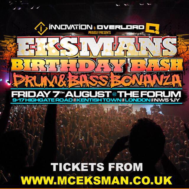 Not long to go now until @Eksman_mc Birthday Bash  Make sure you join all of us when we raise the roof off The Forum http://t.co/mGENDHwIdU