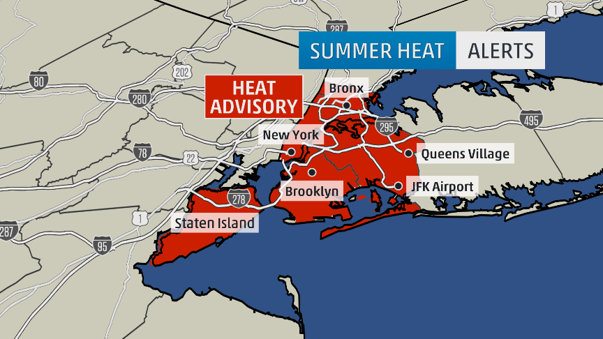 #heatwave for #NYC #Heat advisory in effect from Noon today until 6pm Wednesday for 5 Burroughs. #amhq http://t.co/3fMX5DG7HO