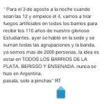 4 DE AGOSTO 00:00. 110 AÑOS DE ESTUDIANTES. TODOS A COPARSE Y TIRAR FUEGOS ARTIFICIALES. RT http://t.co/uDG8Qy0eZL