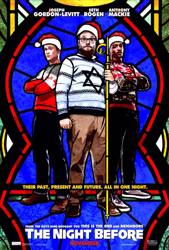 RT @Sethrogen: And here's our poster for #TheNightBefore http://t.co/EaG2u3Nr8m