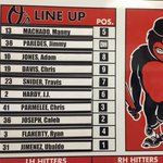 Here's tonight's #Orioles lineup vs Braves at 7:05 ET on @masnOrioles, @MLBTV & @1057TheFan. http://t.co/EWu3yEHUw7 http://t.co/VKAgwVmWUN
