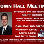 Hope youre making plans to join us tomorrow evening at 7pm to meet the new Amarillo Bulls Head Coach. http://t.co/NDgsYOR6GY