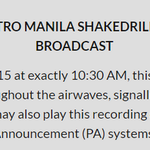 1 day to go before #MMShakeDrill. Download the official audio here to be played at 10:30AM. http://t.co/QF3rwC34G4 http://t.co/pJrtiS9Ipj