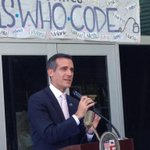 Mayor of #LA, @ericgarcetti, addresses our new graduates at AT&T @ Boyle Heights graduation ceremony! #watchoutworld http://t.co/ULmQnV5d1t