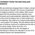 Hard hitting statement from #Patriots on Goodell's ruling #wcvb http://t.co/6WSm0s0Gpo