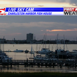 A calm and quiet night with a sliver of sunset from our Charleston Harbor Fish House camera. Have a great evening! http://t.co/M8CD2nRyWG