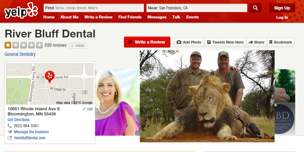 Plez leave a worthy review 4 Lion killer Dentist on his YELP biz page >>>  http://t.co/JKClWro3WJ #CecilTheLion http://t.co/4Dv71EG5zS