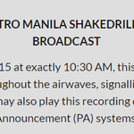 1 day to go before #MMShakeDrill. Download the official audio here to be played at 10:30AM. http://t.co/QF3rwBLtOw http://t.co/OaUEvFMQL7