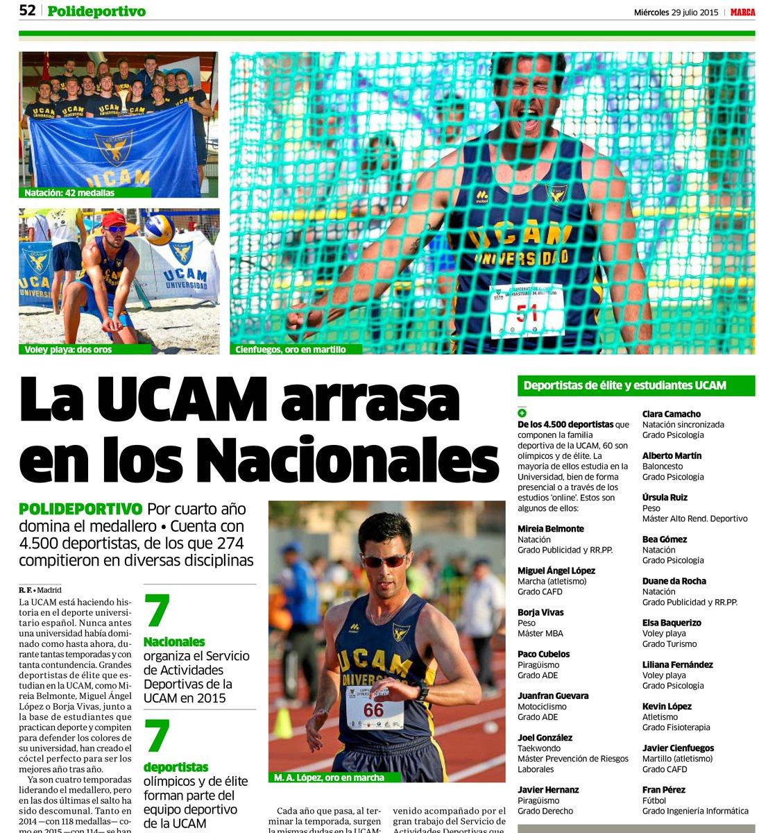 Hoy, en @marca, protagonistas con @UCAM_Deportes. http://t.co/08kvECbw0z
