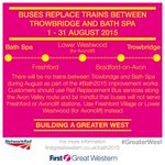 #Bath2015 No trains between Trowbridge and Bath throughout August. Rail Replacement Bus services operate instead. http://t.co/ymLbTs0zo6
