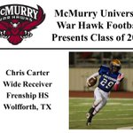 We want to welcome Chris Carter to the McMurry War Hawk Family! #WarHawkReady http://t.co/MD5CnNMV02