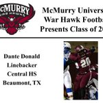 We want to welcome Dante Donald to the McMurry War Hawk Family! #WarHawkReady http://t.co/ypUnNR6z7V