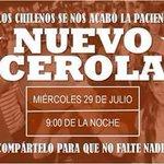Hoy a las 21:00 horas, todo Chile unido en el #Cacerolazo contra la delincuencia y el #PactoDeSilencioPorCorrupción. http://t.co/B4OHAA8vdX