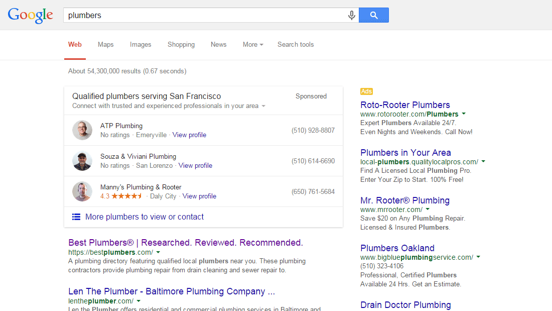 """New paid local entity in testing on Google last night (search for """"plumbers"""") - potential game-changer, IMO -- http://t.co/ehlLfs9MOw"""