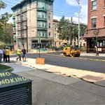Paving is underway on Bloomfield Street. Streets are being hosed down to quickly cool asphalt & reopen road. http://t.co/WPpedHJtbE