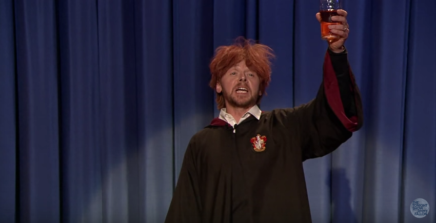 Watch Simon Pegg\s drunk Ron Weasley wish his BFF Harry Potter a happy early birthday.