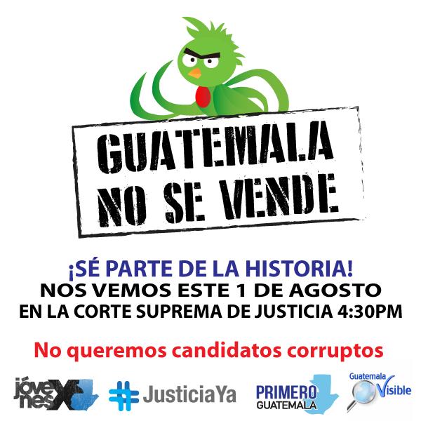 ¡Guatemala vive un momento histórico! Nos vemos el sábado #1A a las 4:30pm en la #CSJ #NoMasCorrupcion #JusticiaYa RT http://t.co/pSzOspgQYJ