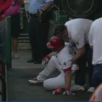 This cant be good. Matt Holliday limped to first base and took a seat on the floor of the #stlcards dugout. http://t.co/xZZwKZfMGh