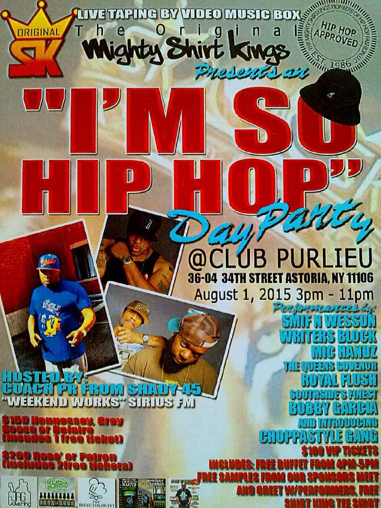 8/1 Mighty @ShirtKings present I'm So Hip-Hop w/@GeneralSteele & @TekSmokeeLah hosted by @CoachPR @ClubPurlieu 3-11PM http://t.co/emf0vXLvPh