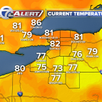 9pm temps across the area. Its 82 in #Buffalo right now. High today hit 91, well be a bit cooler tomorrow. http://t.co/JbMBW1KKaD